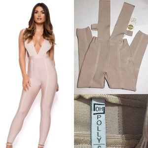 NWT oh Polly nude bandage body suit sz s